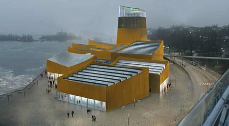 Havainnekuva Guggenheim-arkkitehtuurikisan voittaneesta, pariisilaisen arkkitehtitoimisto Moreau Kusunoki Architectesin ehdotuksesta nimeltä Art in the City. Museohanke torpattiin lopullisesti viime vuoden lopulla.