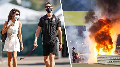 F1-kuljettaja Romain Grosjean joutui onnettomuuteen sunnuntaina Bahrainin-kisassa. Kuljettajan vaimo Marion kommentoi onnettomuutta Twitter-tilillään.