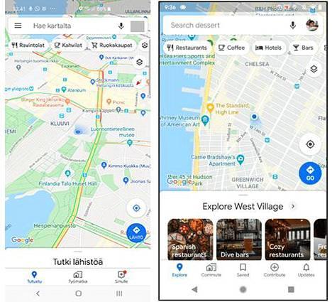 Nykyisessä Google Mapsissa (vasemmalla) on tarjolla 3 nappia alhaalla. Jatkossa niitä on 5.