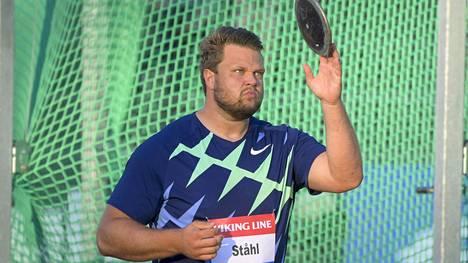 Ruotsin kiekkojätti Daniel Ståhl voitti maailmanmestaruuden Dohassa 2019.