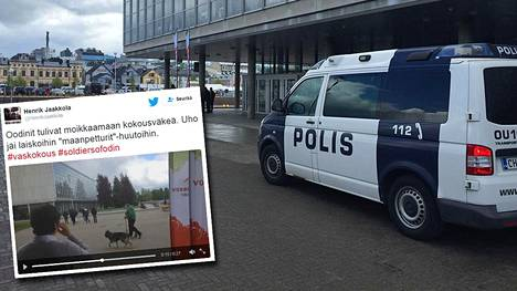 Soldiers of Odin -tunnuksin varustautuneita henkilöitä nähtiin vasemmistoliiton kokouspaikalla Oulussa.