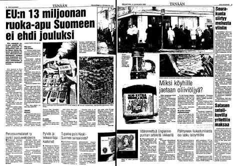 Suomi sai EU:lta ruoka-apua 13 miljoonalla markalla vuonna 1995. IS 6.10.1995.