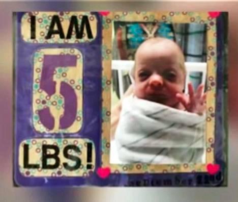 Gisele oli pieni vauva, sillä hän syntyi ennen laskettua aikaa. Tässä kuvassa juhlistetaan sitä, että tyttö painaa noin 2,3 kiloa.