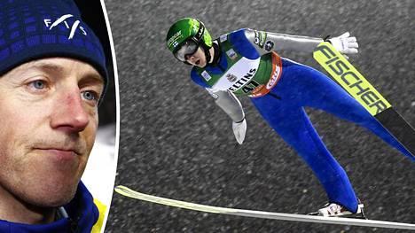 Lasse Ottesen (vas.) kiisti, että FIS suhtautuisi välinpitämättömästi hyppypuvun koon määrittäviin mittauksiin. Kuvassa Suomen Ilkka Herolan tyylinäyte maailmancupin kisassa Rukalla.