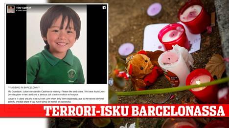 Barcelonan terrori-iskun tapahtumapaikalle La Rambla -kävelykadulle on tuotu kukkia ja kynttilöitä. Eleellä on tahdottu kunnioittaa verisessä iskussa menehtyneitä ja loukkaantuneita. Yksi kuolleista on 7-vuotias australialaispoika.