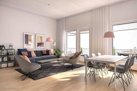 88-neliöisen yksiön pyyntihinta on 525 270 euroa. Kohteen kuvat ovat yleiskuvia taloyhtiöstä, eivätkä kuvaa yksittäistä asuntoa.