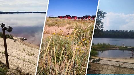 Sotkamon Hiukan hiekat (vasemmalla), Hailuodon Marjaniemi ja Hiisijärven hiekat Ristijärvellä (oikealla) ovat vaikuttavia rantaelämyksiä.