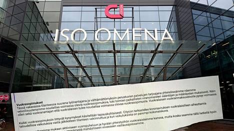 Citycon lähestyi asiakkaitaan tiedotteella, joka on herättänyt suuttumusta. Suomessa sen kauppakeskussalkun isoin on espoolainen Iso Omena.