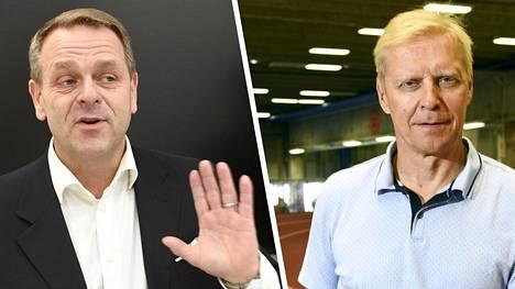 Entinen kansanedustaja (sd) ja huippuaituri Arto Bryggare (oik.) arvostelee Jan Vapaavuorta (kok) omien asemien nostamisesta kisassa Olympiakomitean puheenjohtajan paikasta.