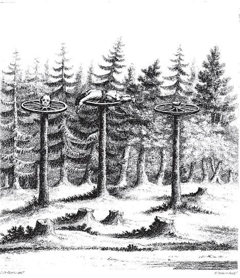Suomen pyövelit -kirjan kuvitusta. Englantilainen Edward Daniel Clarke piirsi Siikajoen mestauspaikan rantamaantien varrella elokuussa 1799.