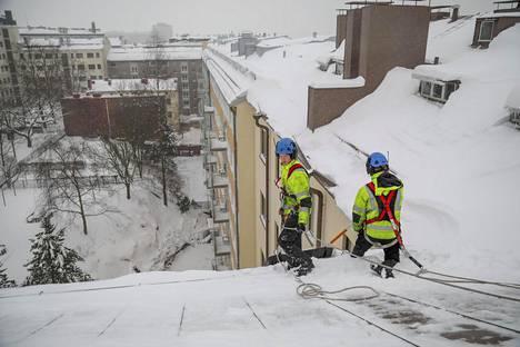 Jussi ja Pekka Lingren ovat talvisin lumenpudottajia ja kesäisin peltiseppiä.