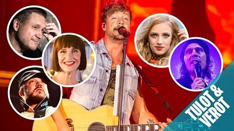 Sunrise Avenue -yhtyeen nokkamies Samu Haber (kuva keskellä) on nähty tv:n puolella muun muassa Vain elämää -ohjelmassa.