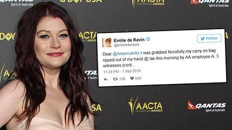 Emilie de Ravin kertoi tapahtuneesta Twitterissä.