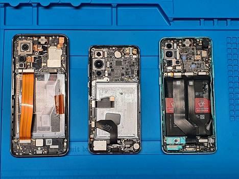 Liettuan puolustusministeriö tutki Xiaomi Mi 10T 5G:n (vasemmalla), Huawei P40 5G:n ja OnePlus 8T 5G:n perinpohjaisesti. Xiaomista löytyi viestinnän seurantaa ja Huaweista tietoturva-aukko. OnePlussasta ei ollut huomautettavaa.