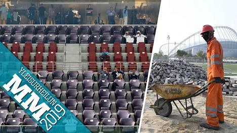 Dohan MM-kisojen suorituspaikkojen rakennusurakka keräsi kritiikkiä. Nyt katsomot ovat kisoissa tyhjillään.