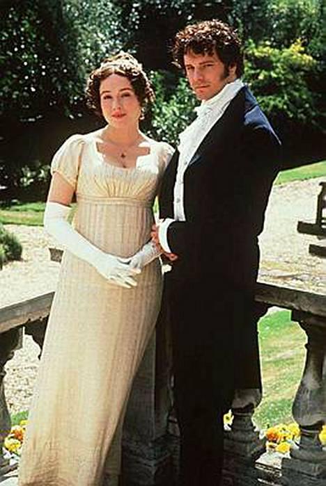 Ylpeys ja ennakkoluulo -sarjan pääpari Colin Firth ja Jennifer Ehle. Sarja uusittiin tapaninpäivänä Yle Teemalla.