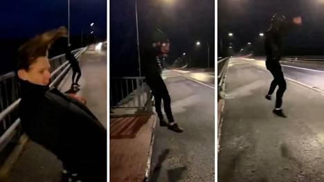 Myrskytuuli lennätti Rasmus Iloviitaa, Konsta Kinnusta, Jaakko Rintalaa ja Joona Aspbäckiä Raippaluodon sillalla yhdeksän jälkeen illalla.