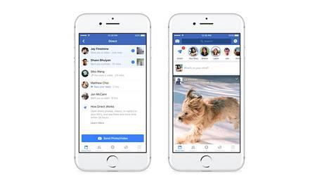 Facebook Stories mullistaa sovelluksen käytön. Vasemmalla mahdollisuus jakaa tarinoita kavereille, oikeassa kuvassa näkyy Storiesin ylänauha sovelluksen päänäkymässä.