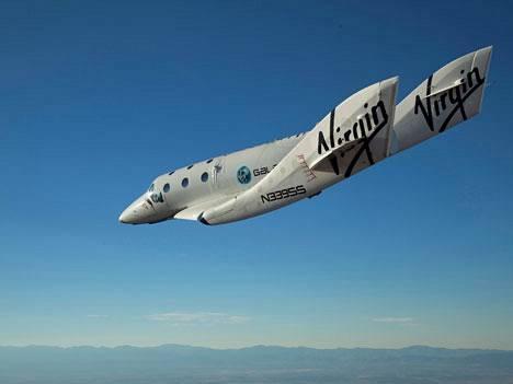 Virgin Galactic -yhtiön avaruusalus koelennolla.