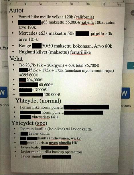 """Siskon puhelimesta löytynyt velkalista. Poliisin mukaan """"Javier"""" on Janne Tranberg."""