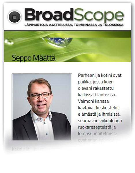 Kuvakaappaus Broad Scope Management Consulting Oy:n sivuilta.