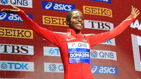Kenian Agnes Tirop voitti 10000 metrin MM-pronssia Dohassa 2019.