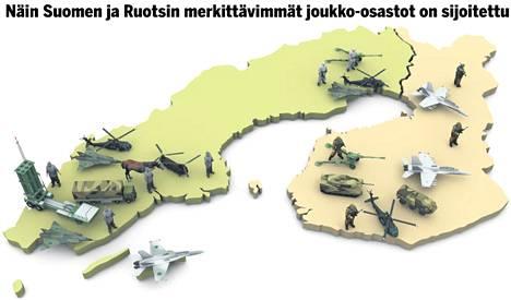 Oheinen kartta kuvaa Suomen ja Ruotsin joukkojen nykytilannetta.