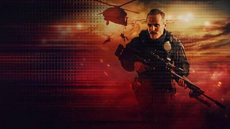 Jasper Pääkkönen vauhdissa elokuvan markkinointikuvassa.