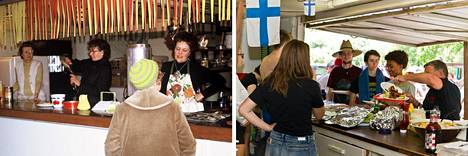 Ruokatarjoilua Hauli Huvilalla vuonna 1973 ja nyt.