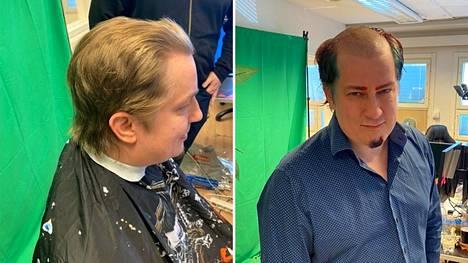 Hämäläisen tukka ennen ja jälkeen.