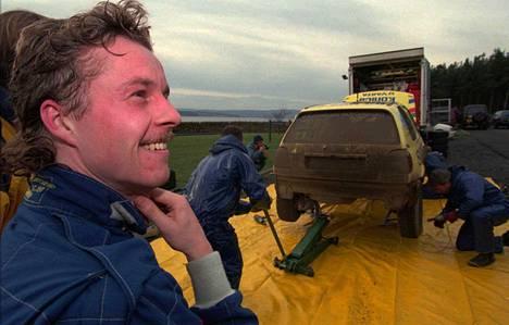 Tapio Laukkanen voitti omalla ralliurallaan Britannian ja Suomen mestaruudet. Arkistokuva RAC-rallista 1995.