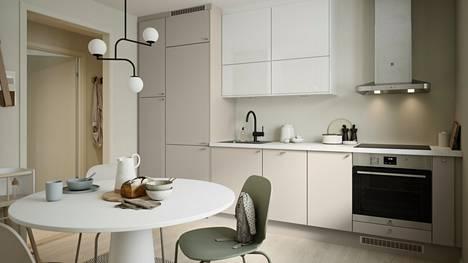 Greige on noussut keittiöiden trendiväriksi klassisten valkoisten ja harmaiden rinnalle
