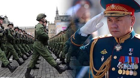 Venäläiset varusmiehet marssivat voitonpäivän paraatissa toukokuun 9. päivä. Puolustusministeri Sergei Shoigun kuva on otettu kaksi päivää aiemmin paraatin harjoituksista.