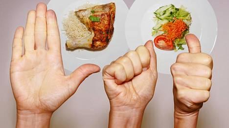 Kätesi kertoo, kuinka paljon lautaselle pitää koostaa proteiinia, rasvaa, hiilareita ja kasviksia – näin se toimii