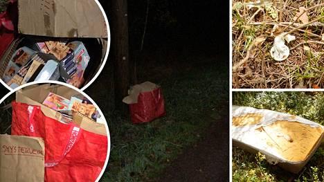 Kuvassa vasemmalla perjantain löydöt levähdyspaikalta. Kuvassa oikealla aiemmat löydökset kesältä.