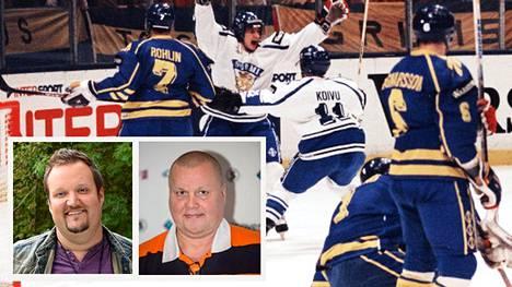 Ville Peltonen ja Saku Koivu tuulettavat jääkiekon MM-kilpailujen loppuottelussa 7. toukokuuta 1995. Tuotantoyhtiö Yellow Filmin aprillipilan mukaan Timo Jutilan rooliin kaavaillaan Sami Hedbergiä.