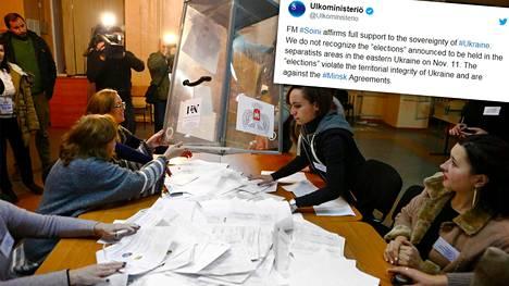 Ääntenlaskenta alkamassa äänestyspaikalla Donetskissa sunnuntaina. Suomen ulkoministeriö twiittasi viime perjantaina, että ulkoministeri Timo Soini antaa tukensa Ukrainan suvereniteetille eikä Suomi tule hyväksymään äänestystä.