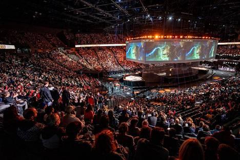 League of Legends on maailman seuratuin kilpapeli. Kuva vuoden 2019 MM-finaalista Pariisista.