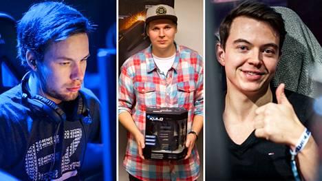 """Aleksi """"allu"""" Jalli (vasen reuna), Jirka """"jigetus"""" Ryhti (keskellä) ja Tomi """"lurppis"""" Kovanen ovat kaikki menestyneitä Counter-Strike-pelaajia."""