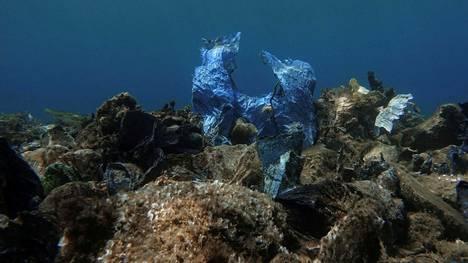 Muovipussi merenpohjassa Androksen saaren edustalla Kreikassa.