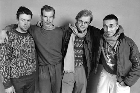 He panivat Suomen sekaisin 1987: Jorma Tommila (vas.), Jari Hietanen, Esa Kirkkopelto ja Jari Halonen.
