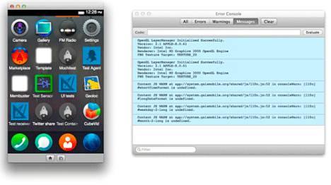 Firefox OS -simulaattori älypuhelimelle.
