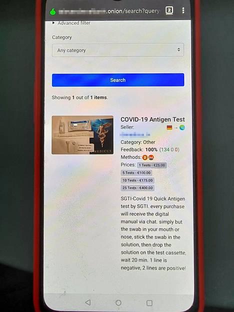 Ostajien luotettavaksi arvioima myyjä kauppaa koronavirustestejä Saksasta käsin. Useamman annoksen ostaja säästää. Kaupankäynti tapahtuu Telegram-pikaviestimellä.