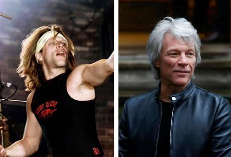 Mitkä hiukset! Vasemmalla Jon Bon Jovi lavalla vuonna 1995. Oikealla harmaahapsinen Bon Jovi helmikuussa 2020.