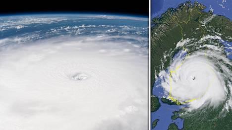 Tältä hirmumyrsky Irma näyttää avaruudesta (vas.) ja tällainen hurrikaani olisi Suomen yllä (oik.).