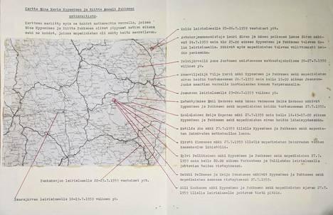 Poliisin karttaan on merkitty tyttöjen reitti ja havaintoja salaperäisestä mopedimiehestä.