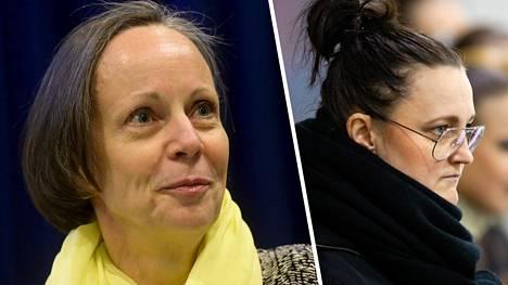 Taitoluisteluliiton puheenjohtaja Laura Raitio (vas.) ei antanut tiistaina paljoa lisätietoja raportista koskien HSK:n muodostelmaluistelun päävalmentajan Mirjami Penttisen tapausta.
