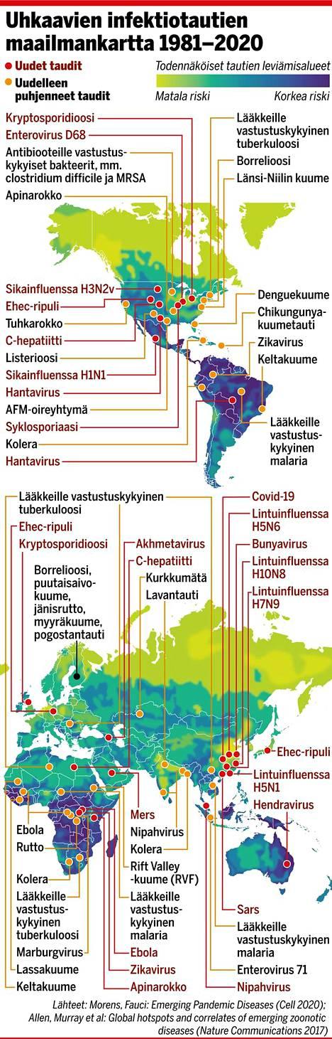 Muun muassa näitä infektiotauteja levisi maailmalla kuluneen 40 vuoden aikana. Kartan väritys kuvaa epidemioiden puhkeamisen riskiä.