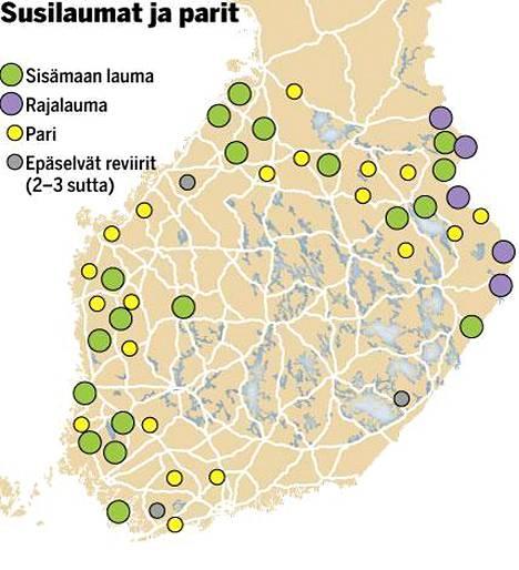 Arvio Suomessa Liikkuu Noin 200 Sutta Kartta Nayttaa Missa
