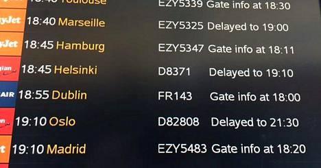 Paluulennon korvannut lento oli sekin myöhässä.